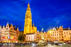 Antwerp, Belgium. Antwerpen, Belgium. Night scene in downtown Antwerp, Belgium along the famous Meir Street and the lonely tower of the Cathedral of our Lady Stock Photo