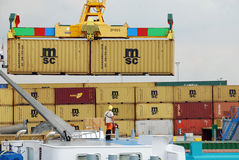 Containers in the port of Antwerp Royalty Free Stock Photos