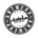 Antwerp Belgium Europe Round Button City Skyline Design Stamp Vector Travel Tourism. Skyline with emblematic Buildings and Monuments of this famous city stock illustration