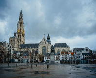 ANTWERP-BELGIUM-Feb 2017: Cathedral of Our Lady. Stock Images