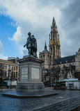 ANTWERP BELGIUM - February 24, 2017: Groenplaats square in the center of Antwerp with the statue of Rubens and the Stock Images