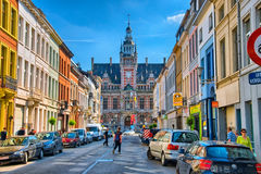 ANTWERP, BELGIUM - JUN 2013: Street with guild houses on June 7, Royalty Free Stock Image
