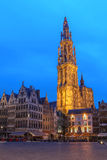 Antwerp, Belgium. The lonely tower of the  Cathedral of our Lady looming over the Grote Markt (big Market Square) in Antwerp, Belgium Stock Photos