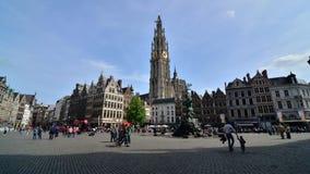 Antwerp, Belgium - May 10 2015: The Grand Place in Antwerp, Belgium. stock footage