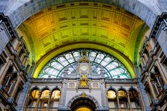 Antwerp, Belgium, May 2019,  Interior of Antwerp Central Station royalty free stock photos