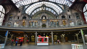 Antwerp, Belgium - May 11, 2015: People in hall of Antwerp Central station stock video footage