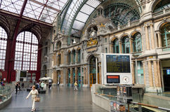 Antwerp, Belgium - May 11, 2015: People in Main hall of Antwerp. Central station on May 11, 2015 in Antwerp, Belgium. The station is now widely regarded as the Stock Photos