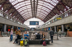 Antwerp, Belgium - May 11, 2015: People in Main hall of Antwerp. Central station on May 11, 2015 in Antwerp, Belgium. The station is now widely regarded as the Royalty Free Stock Photo
