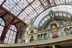Antwerp, Belgium - May 11, 2015: People in Main hall of Antwerp Stock Photo