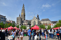 Antwerp, Belgium - May 10, 2015: People visit Thailand Festival at Groenplaats in Antwerp Stock Photography