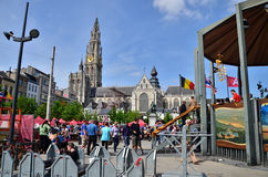 Antwerp, Belgium - May 10, 2015: People visit Thailand Festival at Groenplaats Stock Image