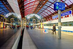 Antwerp, Belgium, May 2019,  Platform with train at Antwerp Central Station royalty free stock photography