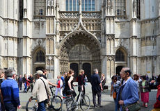 Antwerp, Belgium - May 10, 2015: Tourist visit Cathedral of Our Lady in Antwerp Stock Images