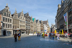 Antwerp, Belgium - May 10, 2015: Tourist visit The Grand Place in Antwerp, Belgium. Stock Photos