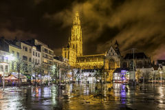 Antwerp, Belgium, November 19, 2015: City square after rain Stock Images