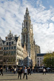 Antwerp. BELGIUM - OCTOBER 26: Cathedral of Our Lady on October 26, 2013 in  in , Belgium. The cathedral was completed in 1521 and this is the highest church Stock Images