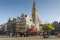 Antwerp. BELGIUM - OCTOBER 26: The Grote Markt, square with the historic carriage on October 26, 2013 in  in , Belgium Stock Photo