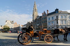 Antwerp. BELGIUM - OCTOBER 26:  A traditional horse-drawn buggy at Grote Markt awaits toursist to tour the famous sights in the old city on October 26, 2013 in Stock Photo