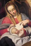 ANTWERP, BELGIUM - SEPTEMBER 5, 2013: The detail of with the child Madonna by unknown painter in Saint Pauls church Paulskerk Royalty Free Stock Photo