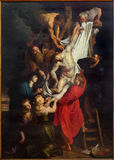 ANTWERP, BELGIUM - SEPTEMBER 4: Raising of the cross (460x340 cm) from years 1609 - 1610 by baroque painter Peter Paul Rubens in t Stock Image
