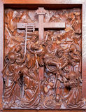 Antwerp - Carved Deposition of the cross relief in St. Pauls church  (Paulskerk) Royalty Free Stock Images