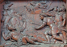 Antwerp - Carved relief of Conversion of st. Paul in St. Pauls church  (Paulskerk) Stock Photos