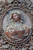 Antwerp - Carved relief of Virgin Mary in St. Pauls church (Paulskerk) Royalty Free Stock Photography