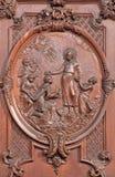 Antwerp - Carved scene as st. Francis Xavier baptist the king of Maledives  St. Charles Borromeo church Stock Photos
