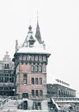 Antwerp Castle at winter snowstorm Stock Photo