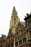 Antwerp Cathedral. The tower of the gothic cathedral of antwerp, Belgium stock photo
