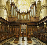 Antwerp cathedral. Cathedral in Antwerp, Belgium with wooden interior Royalty Free Stock Image