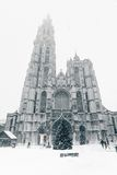 Antwerp Cathedral at Winter Snowstorm Royalty Free Stock Photo