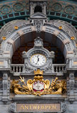 Antwerp Central clock Royalty Free Stock Images