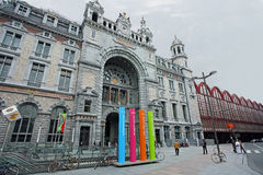 Antwerp Central Train Station. In Belgium, arch, bicycles, two-style architecture Stock Images