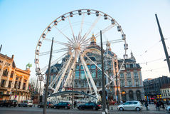 Antwerp Central Train Station With Wheel Royalty Free Stock Photos