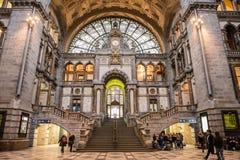 Antwerp centralstation ANTWERP FEBRUARI 3rd 2015 Fotografering för Bildbyråer