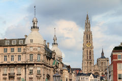 Antwerp city cathedral stock images