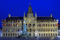 Antwerp City Hall and Brabo fountain at evening, Belgium Stock Photography