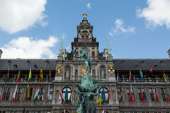 Antwerp City Hall and Brabo Fountain Stock Image