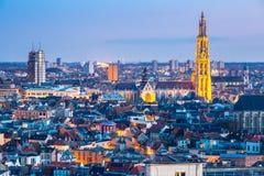 Antwerp cityscape på skymning Fotografering för Bildbyråer