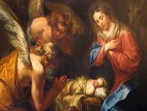 Antwerp - detalj av Kristi födelsemålarfärg av Kasper van Opstal (1660 - 1714) i kyrka för St. Charles Borromeo Arkivbild