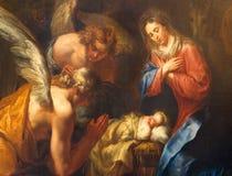 Antwerp - detalj av Kristi födelsemålarfärg av Kasper van Opstal (1660 - 1714) i kyrka för St Charles Borromeo Fotografering för Bildbyråer