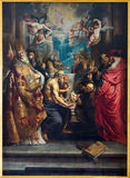 Antwerp - The Disputation of the Holy Sacrament by Peter Paul Rubens from year 1608 in St. Pauls church (Paulskerk) Royalty Free Stock Image