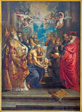 Antwerp - The Disputation of the Holy Sacrament by Peter Paul Rubens from year 1608 in St. Pauls church (Paulskerk) Stock Photos