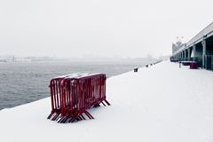 Antwerp Embankment in the Snow Royalty Free Stock Image