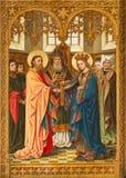 Antwerp - Espousal av jungfruliga Mary och St Joseph av J. Anthony från året 1898 från detgotiska sidoaltaret i domkyrkan av vårt  Royaltyfria Bilder