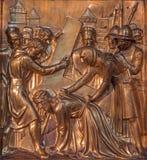 Antwerp - Fall of Jesus under cross. Metal relief from Joriskerk or st. George church Stock Images