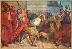 Antwerp - Fresco of bondage of Jesus in Joriskerk or st. George church from 19. cent. stock photos