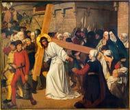 Antwerp - freskomålning - Jesus möter kvinnorna av Jerusalem av Josef Janssens från år 1903 - 1910 i domkyrkan av vår dam royaltyfria bilder