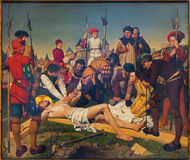 Antwerp - freskomålning - Jesus spikas till korset av Josef Janssens från år 1903 - 1910 i domkyrkan av vår dam royaltyfria foton